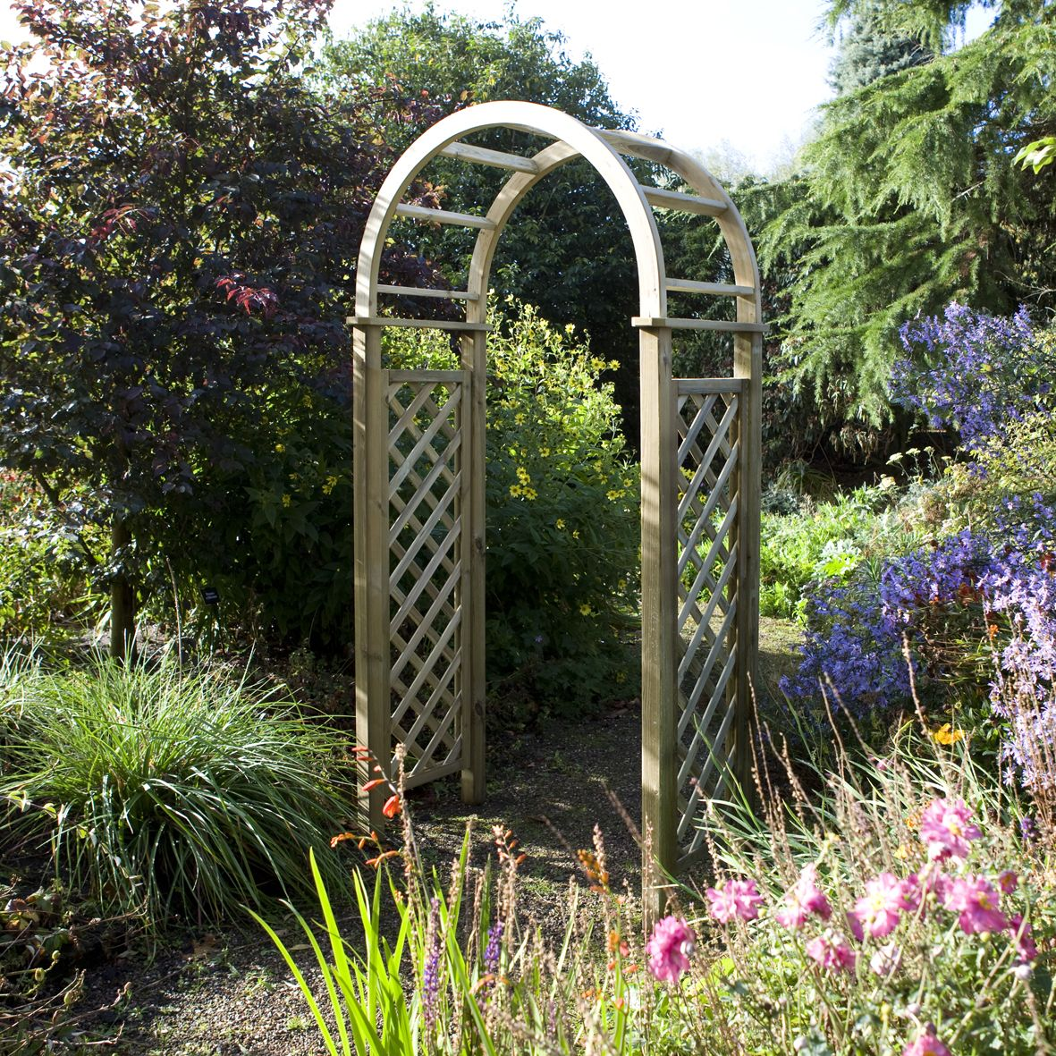 Blooma chiltern wooden round top arch departments diy for Garden archway designs