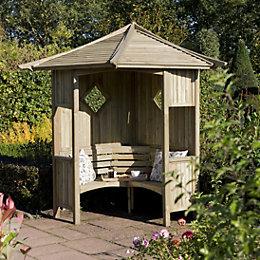 Elegant Wooden Corner Arbour