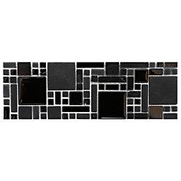 Modular Mosaic Black Glass & Stone Border Tile,