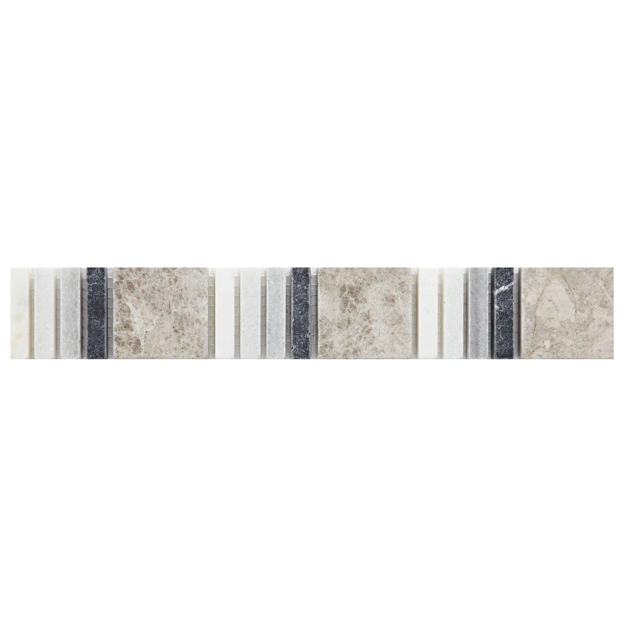 Black White Grey Mosaic Marble Border Tile L 305mm W 48mm