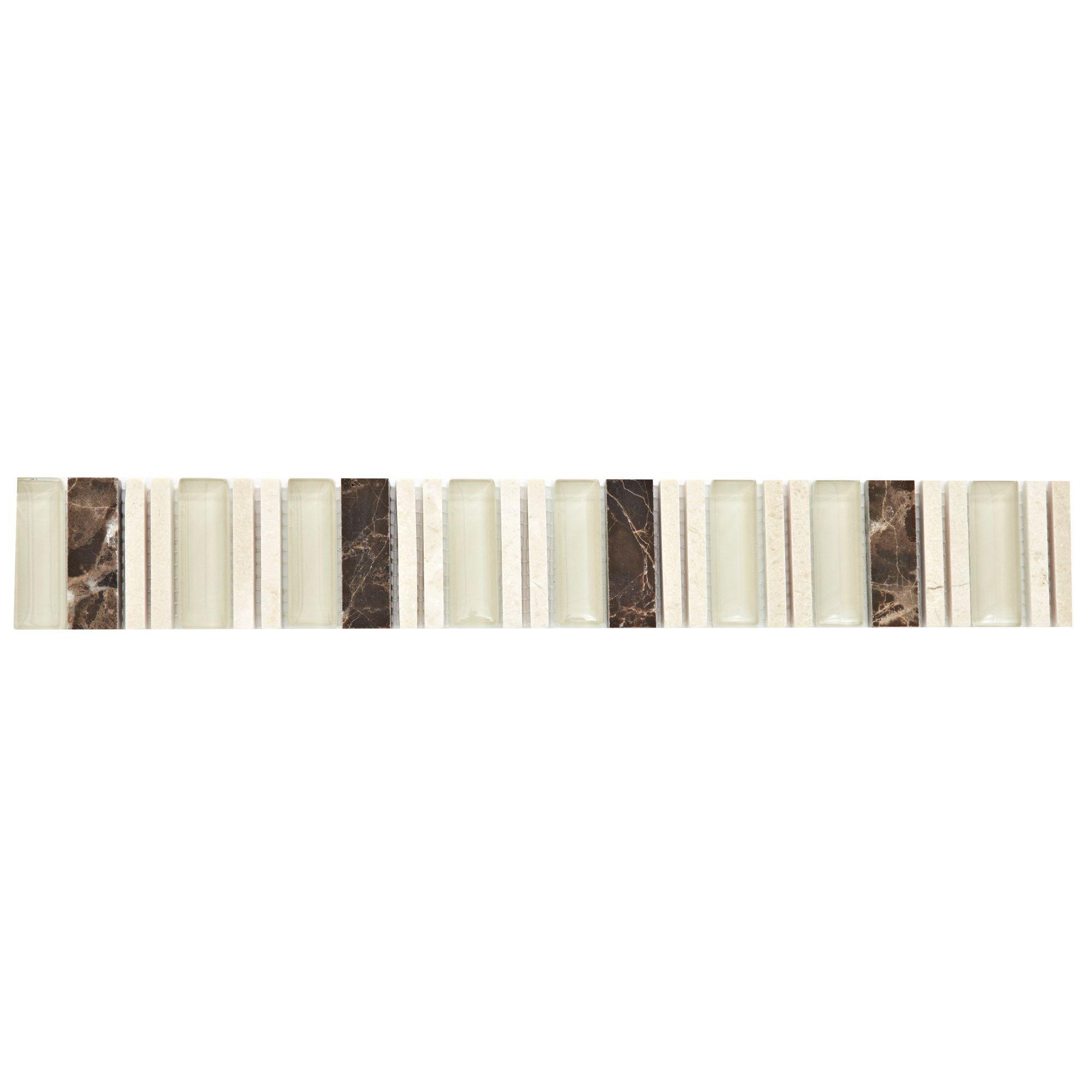 Matchstick Natural Mosaic Border Tile, (l)330mm (w)48mm
