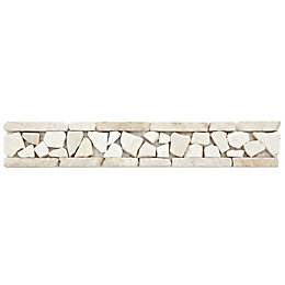 Cappuccino Mosaic Marble Border Tile, (L)300mm (W)50mm