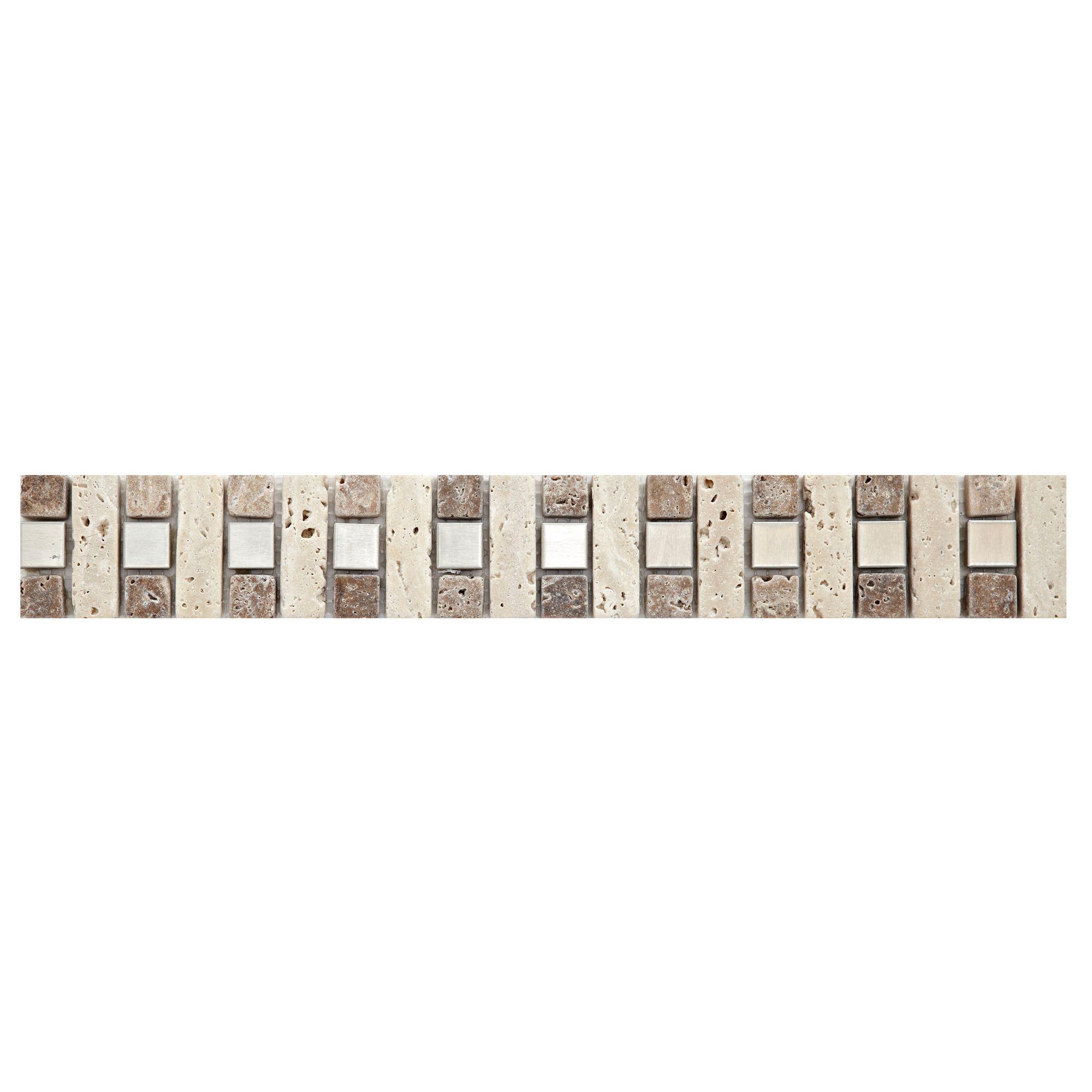 Natural Mosaic Glass & Travertine Border Tile, (l)333mm (w)48mm
