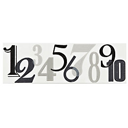 Numbers Black Ceramic Border Tile, (L)250mm (W)80mm