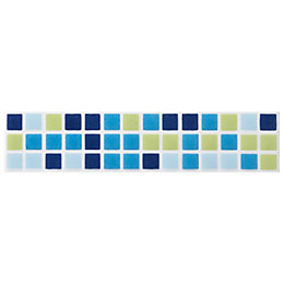 Mini Mosaic Blue Ceramic Border Tile, (L)200mm (W)45mm