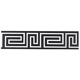 Greek Key Black Ceramic Border Tile, (L)300mm (W)70mm