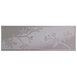Floral Glazed Cream Ceramic Border Tile, (L)300mm (W)100mm