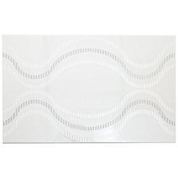 Ribbon White Ceramic Wall Tile, (L)400mm (W)250mm