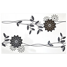 Jenna Black Ceramic Wall Tile, (L)400mm (W)250mm