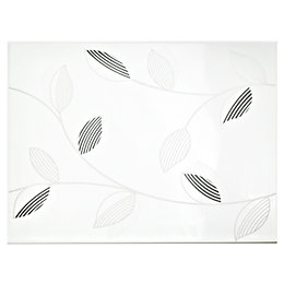 Garda White & Silver Effect Ceramic Wall Tile,