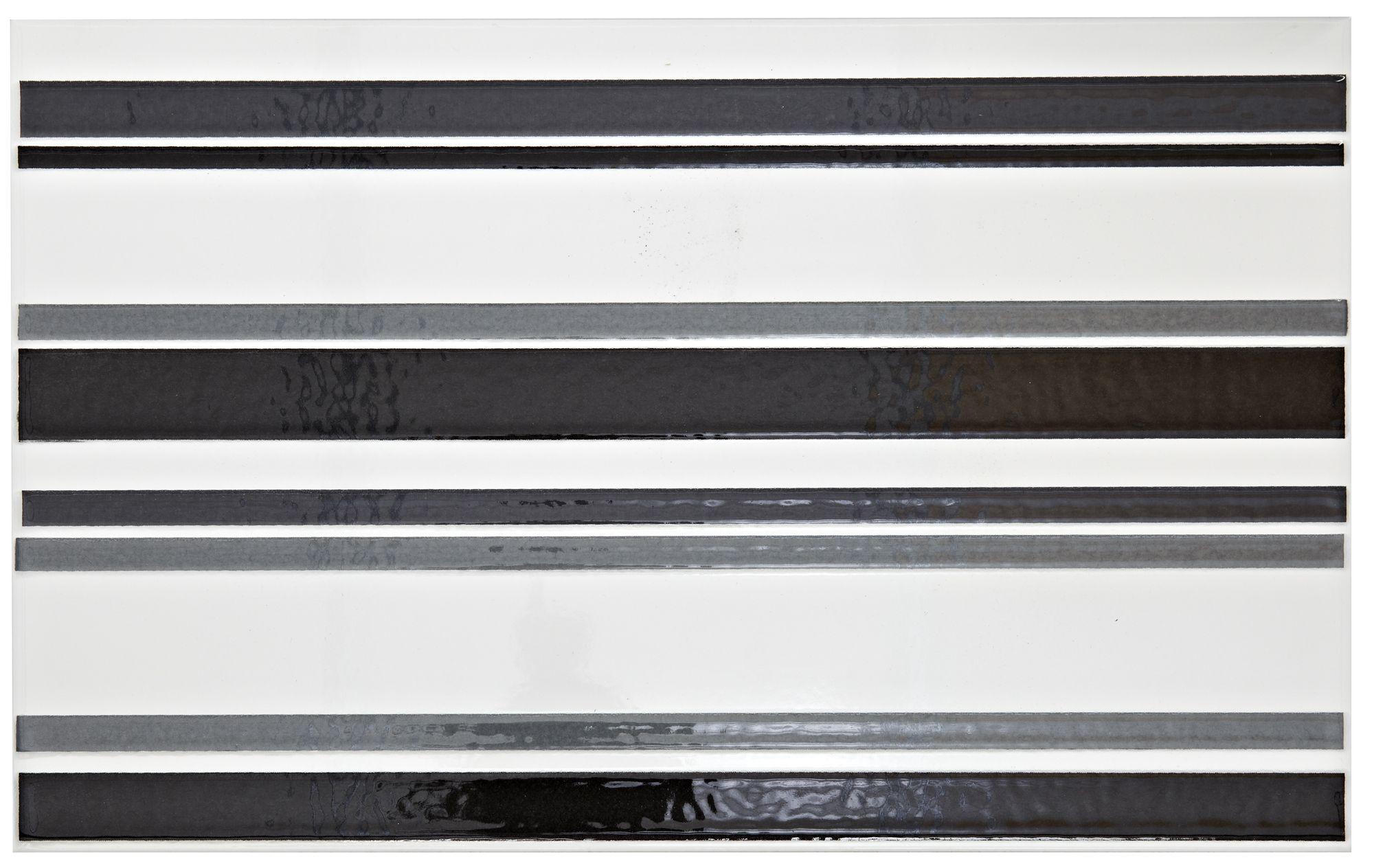 New Oxford Black, White & Grey Ceramic Wall Tile, (l)400mm (w)250mm