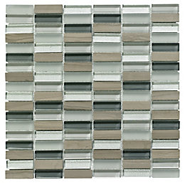 Linear Grey Glass & Stone Mosaic Tile, (L)300mm