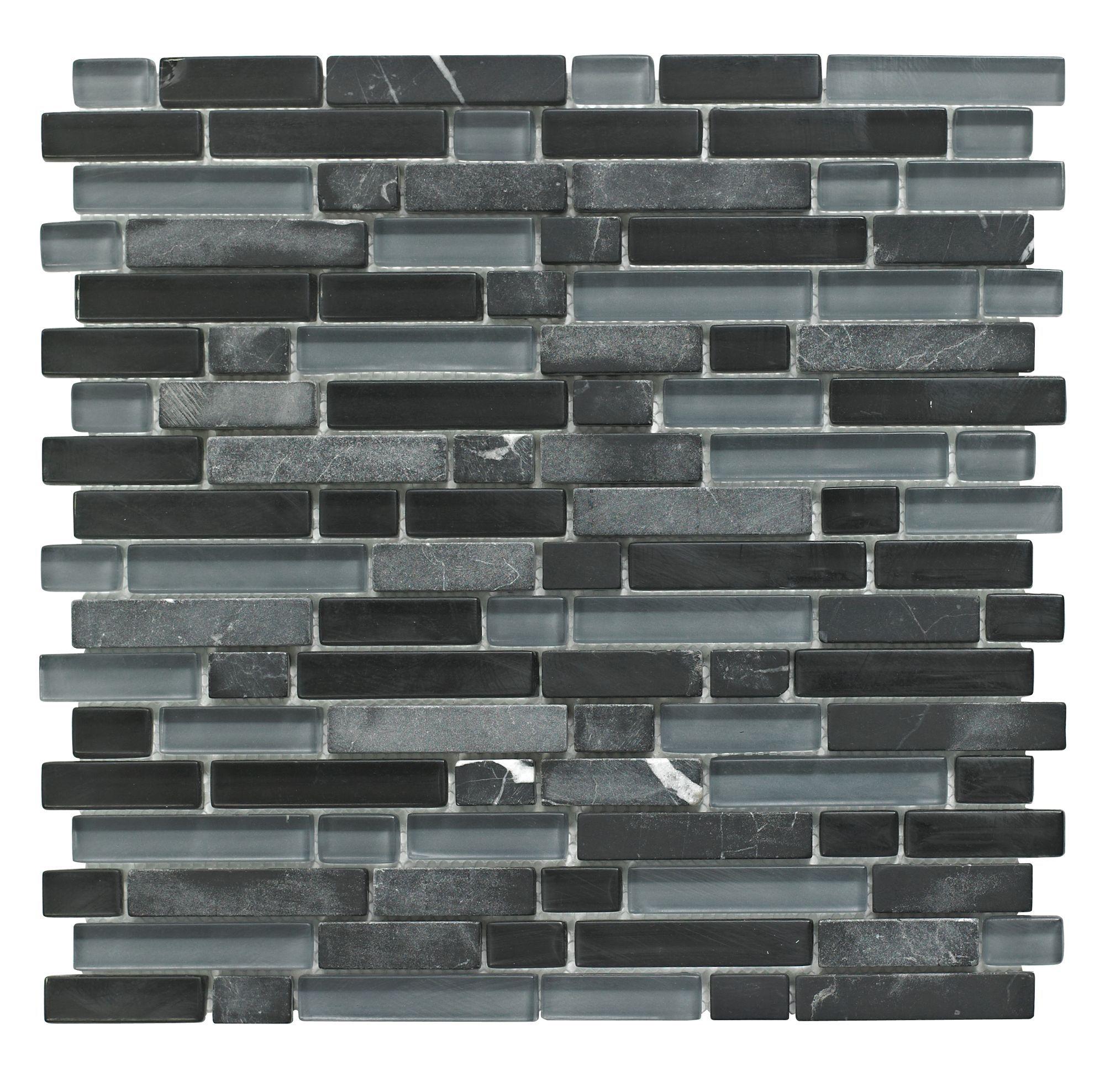 Linear Black Glass Stone Mosaic Tile L300mm W308mm