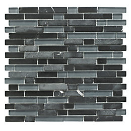 Linear Black Glass & Stone Mosaic Tile, (L)300mm