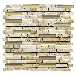 Brown Mosaic Glass & Stone Wall Tile, (L)300mm