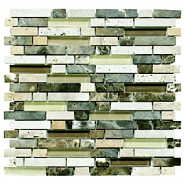 Stone & Glass Emperador Mosaic Wall Tile, (L)300mm