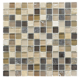 Beige Mosaic Glass & Stone Wall Tile, (L)300mm