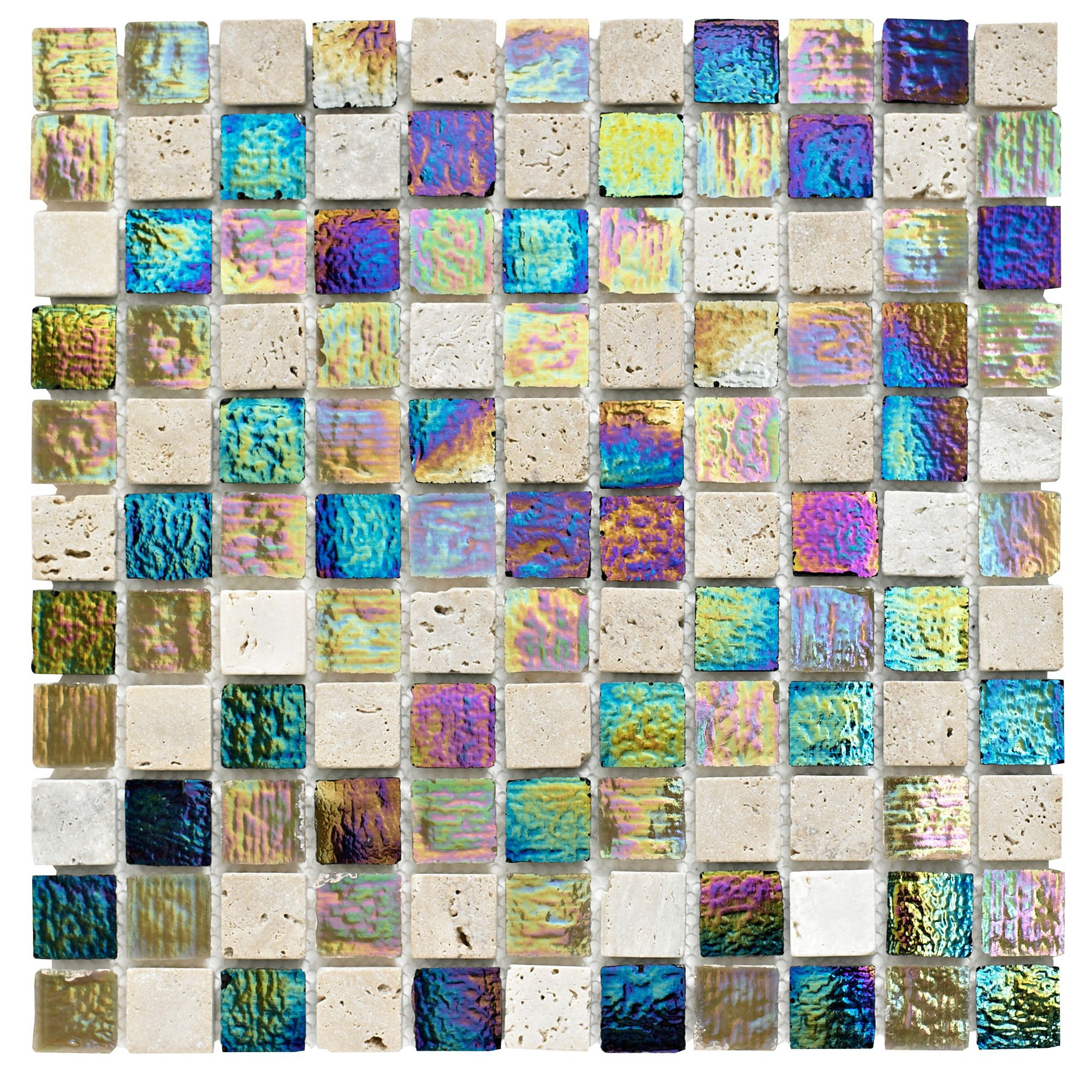 Stone & Glass Mosaic Tile, (l)300mm (w)300mm