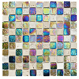 Stone & Glass Mosaic Tile, (L)300mm (W)300mm