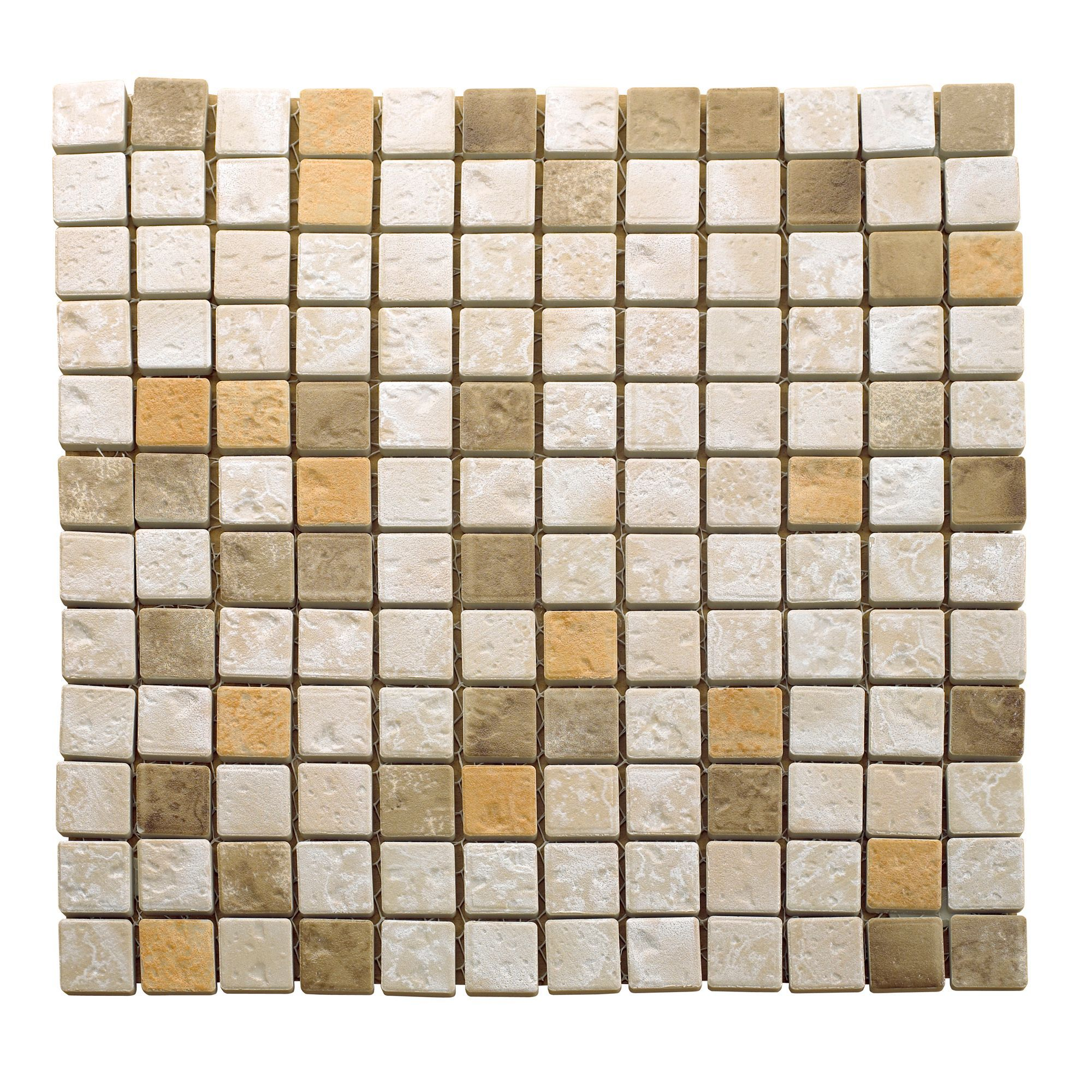 Green Glass Marble Mosaic Tile L 300mm W 300mm: Beige Mosaic Tile