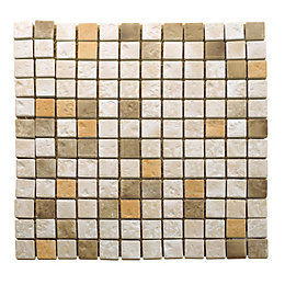 Natural Travertine Mosaic Tile, (L)300mm (W)300mm