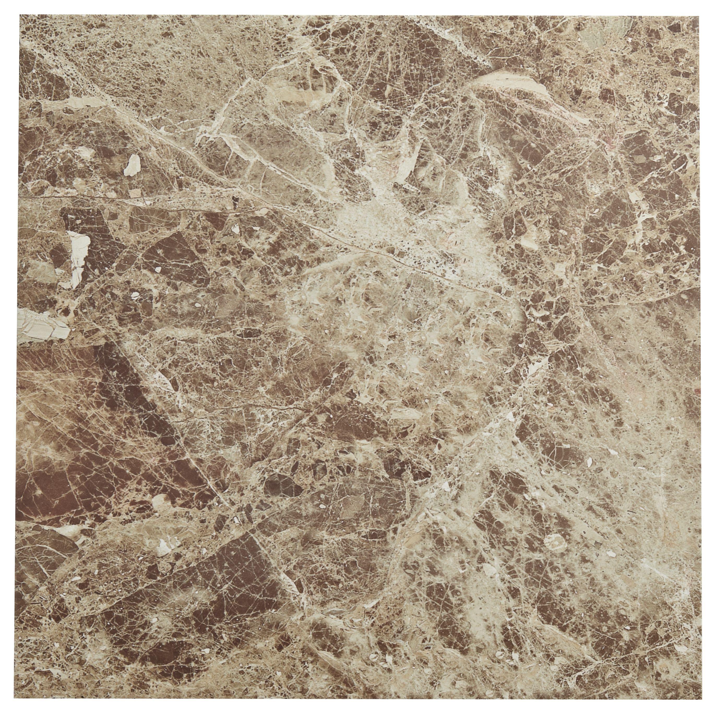 Illusion Emperador Marble Effect Stone Ceramic Floor Tile, Pack Of 5, (l)430mm (w)430mm