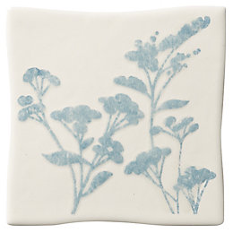 Padstow Sky Blue Ceramic Wall Tile, (L)100mm (W)100mm