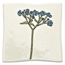 Padstow Blue Botanical Ceramic Wall Tile, (L)100mm (W)100mm