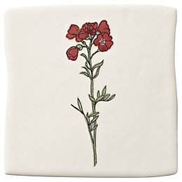 Padstow Pink Botanical Ceramic Wall Tile, (L)100mm (W)100mm