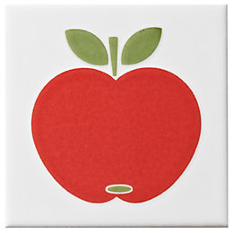 Apple Red Ceramic Wall Tile, (L)100mm (W)100mm