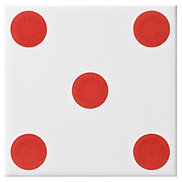 Dice Spot Red Ceramic Wall Tile, (L)100mm (W)100mm