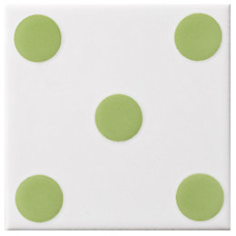 Dice Spot Lime Ceramic Wall Tile, (L)100mm (W)100mm