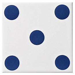 Dice Spot Blue Ceramic Wall Tile, (L)100mm (W)100mm
