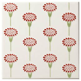 Daisy Spice Ceramic Wall Tile, (L)150mm (W)150mm