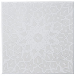 Fleur Silver Eff Ceramic Wall Tile, (L)200mm (W)200mm