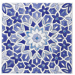 Fleur Blue Ceramic Wall Tile, (L)200mm (W)200mm