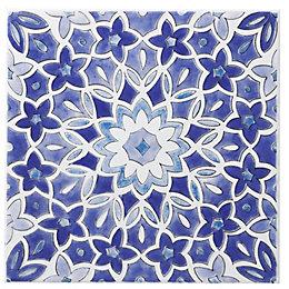 Fleur Blue Ceramic Wall Tile, (L)200mm (W)200mm