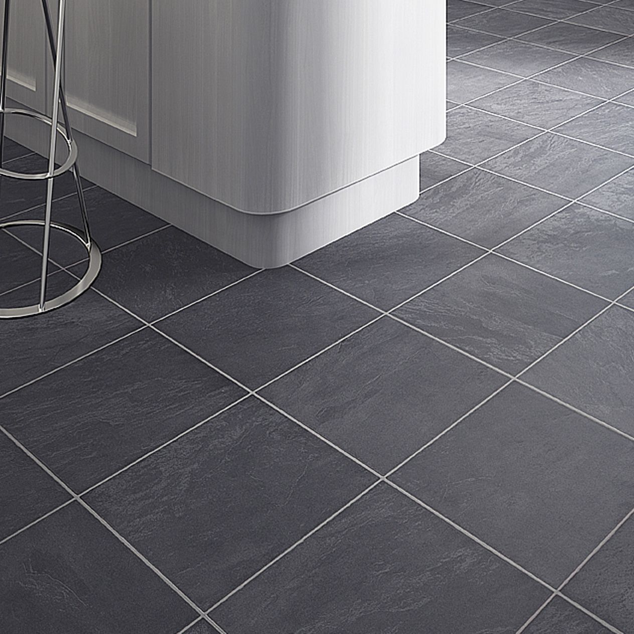 Leggiero silver blue slate effect laminate flooring B q bathroom design service