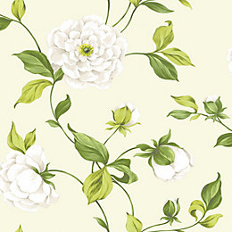 Colours Camelia Cream & Green Floral Mica Effect