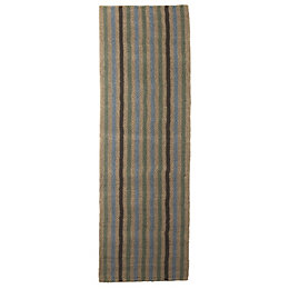 Colours Ambarella Brown Stripe Jute Runner (L)2.0m (W)0.6m