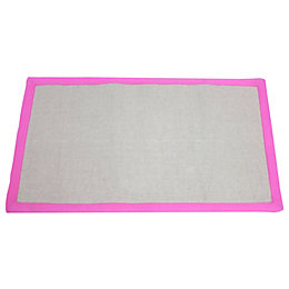 Colours Maharaja Grey & Pink Border Rug (L)1.6m