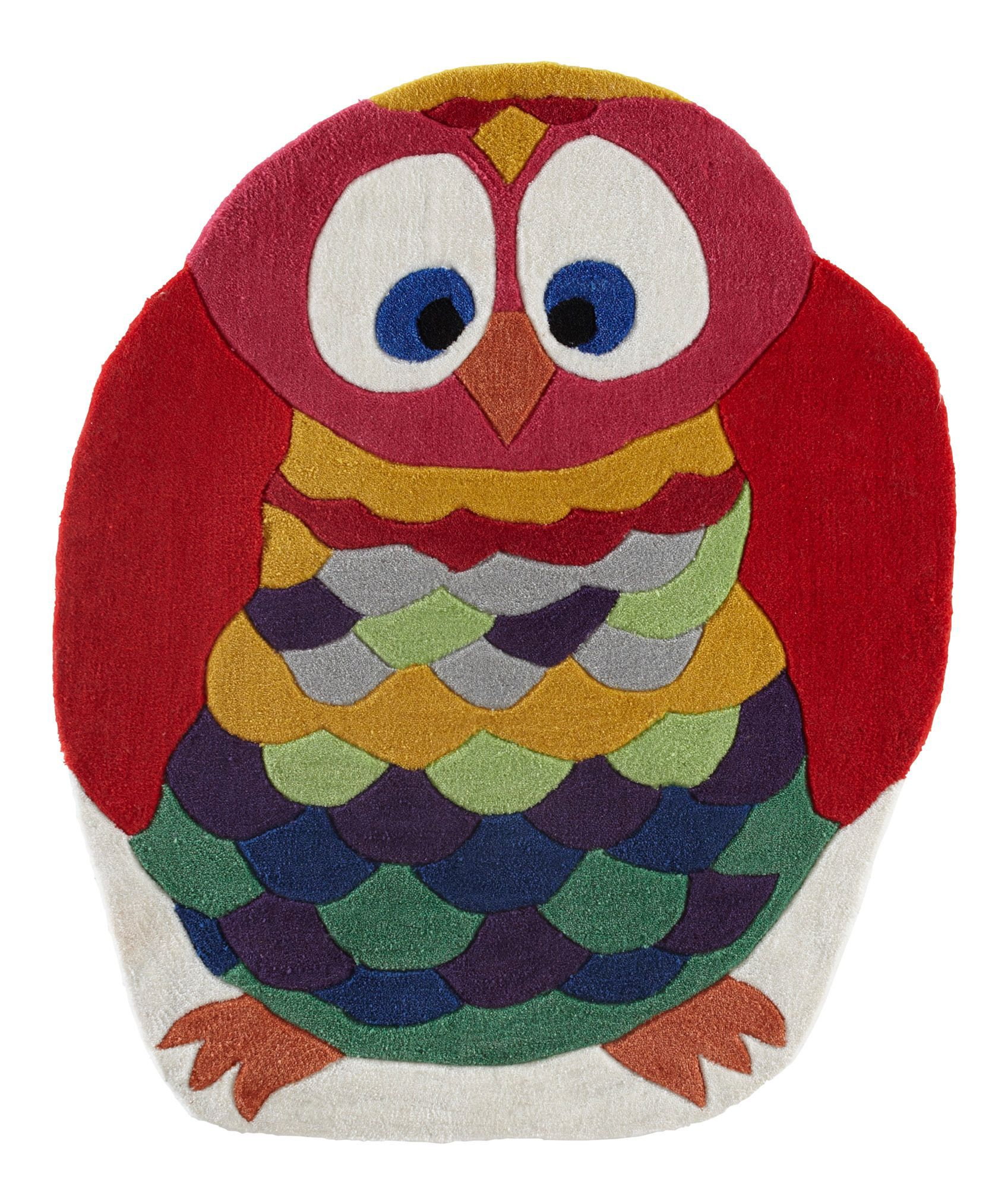 colours kori blue gold red owl rug l 1m w 0 8m departments