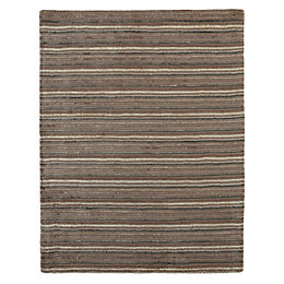 Colours Jasola Grey & Taupe Striped Rug (L)1.5M