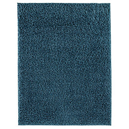 Colours Kala Teal Plain Rug (L)1.2M (W)0.6 M