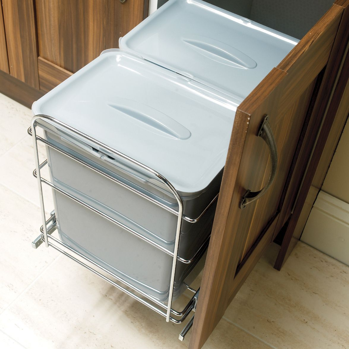 IT Kitchens 600mm Integrated Pull-Out Kitchen Bins, 78L