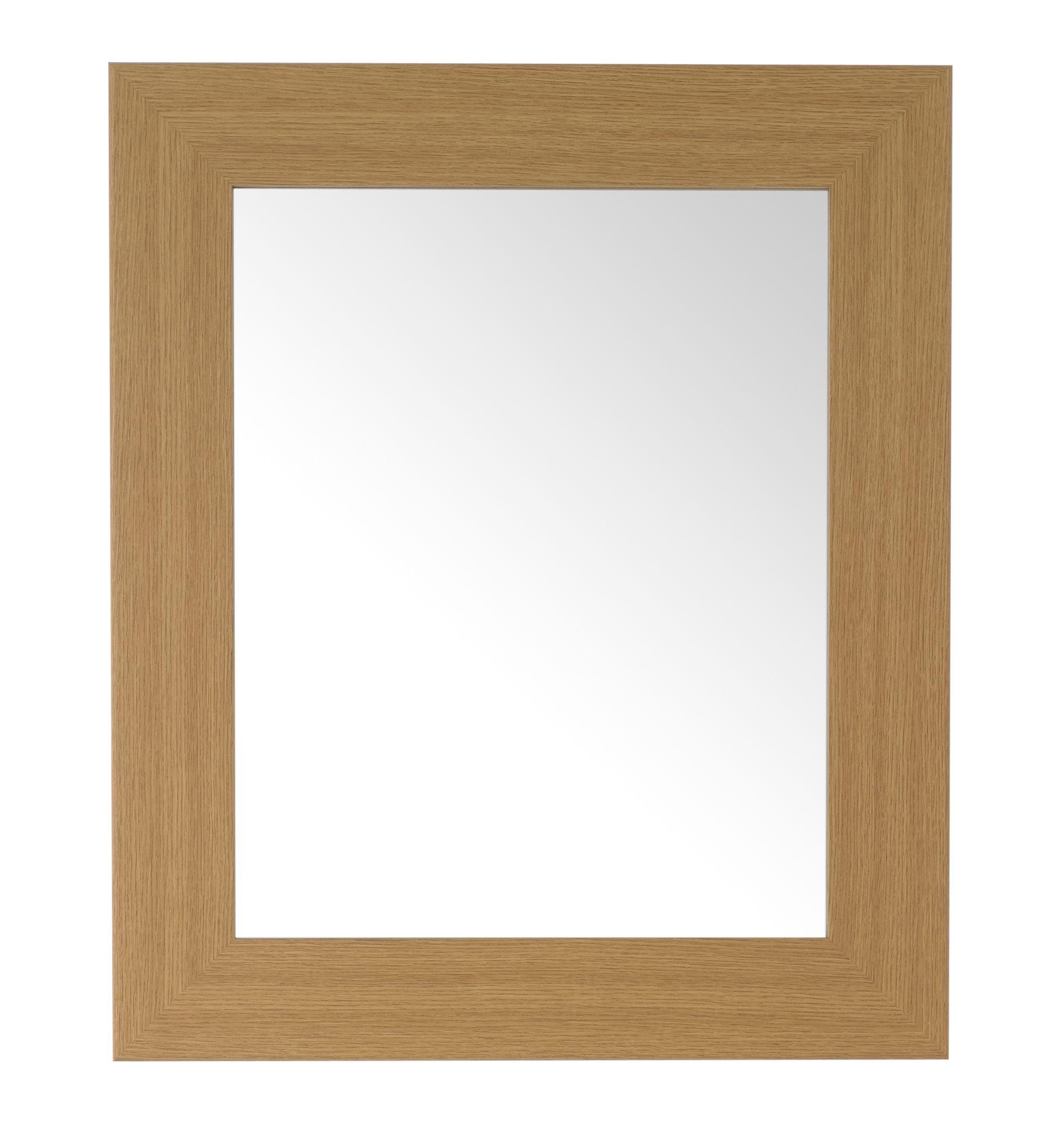 Colours Bullnose Oak Effect Framed Rectangular Mirror (h)660mm (w) 550mm