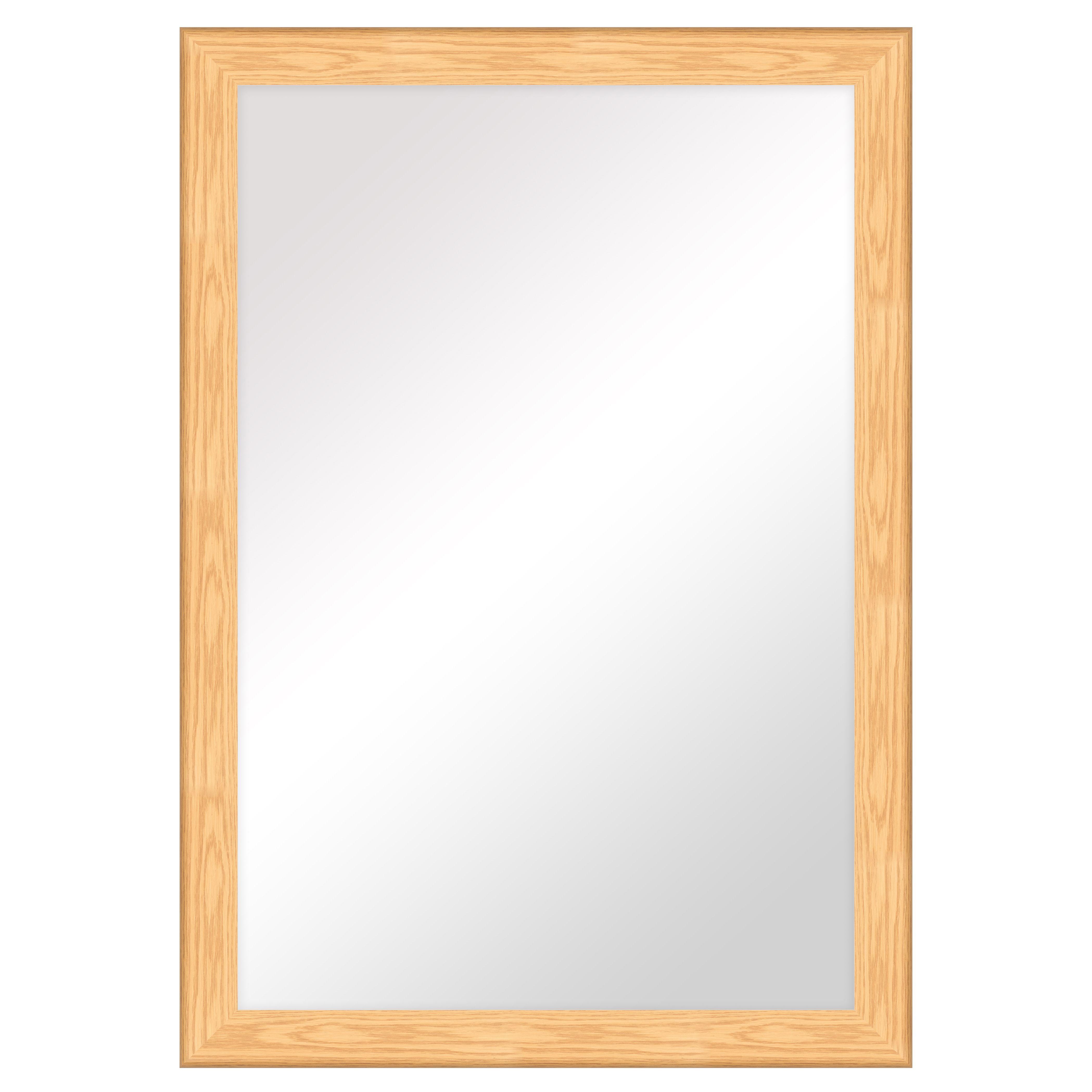 Colours Bullnose Oak Effect Framed Rectangular Mirror (h)1060mm (w) 760mm
