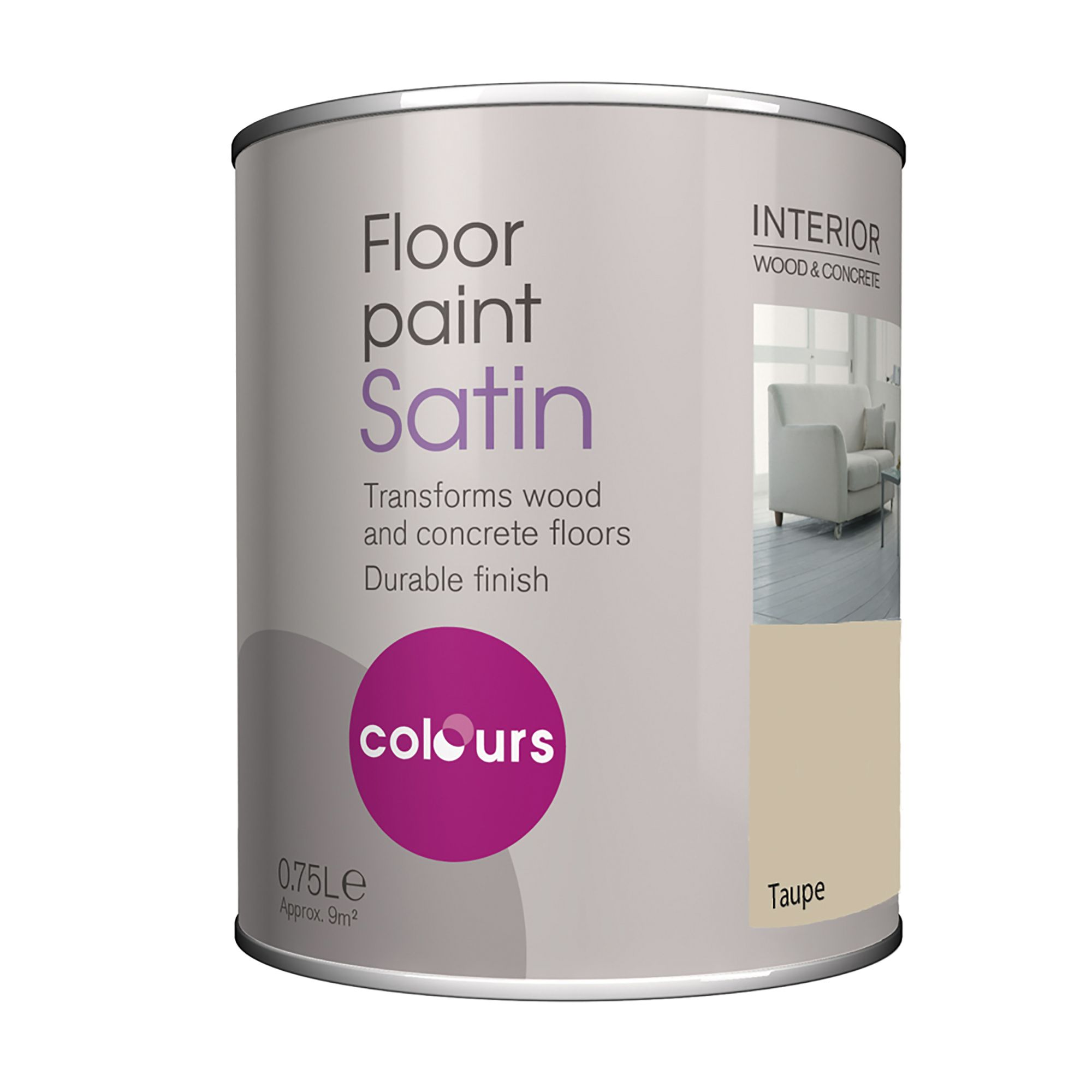 Colours Taupe Satin Floor Paint0.75l