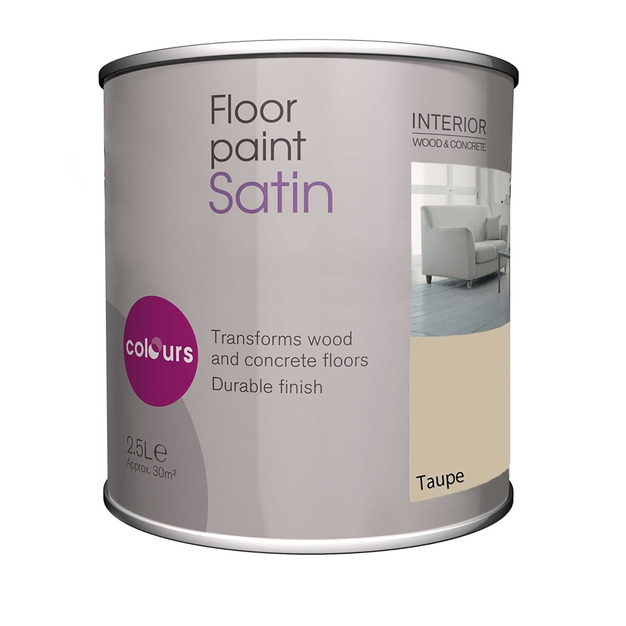 Colours Taupe Satin Floor Paint2.5l