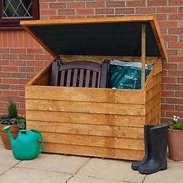 Overlap Pent Wooden Garden Storage Box & Easy